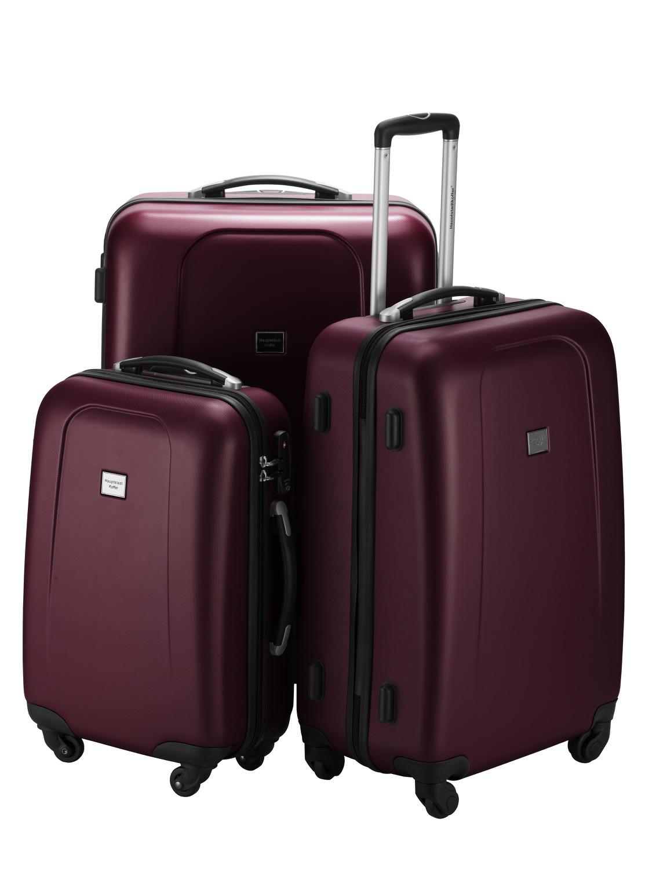 set of 3 hard shell suitcases hardcase luggage case bag. Black Bedroom Furniture Sets. Home Design Ideas